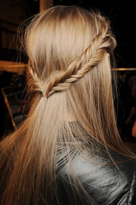 Fishtail crown braids - straight hairstyle