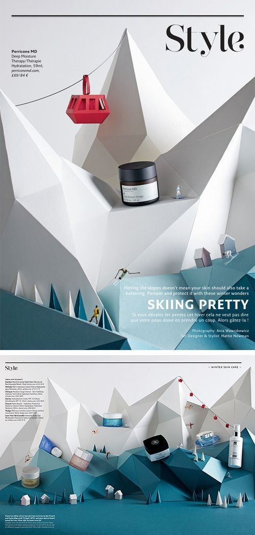 Hattie Newman marca: Perricone MD  lugar: Francia   titulo: skiing pretty Principios: enfasis de tamaño, enfasis de colocacion inusual, Proporcion y escala, armonia.