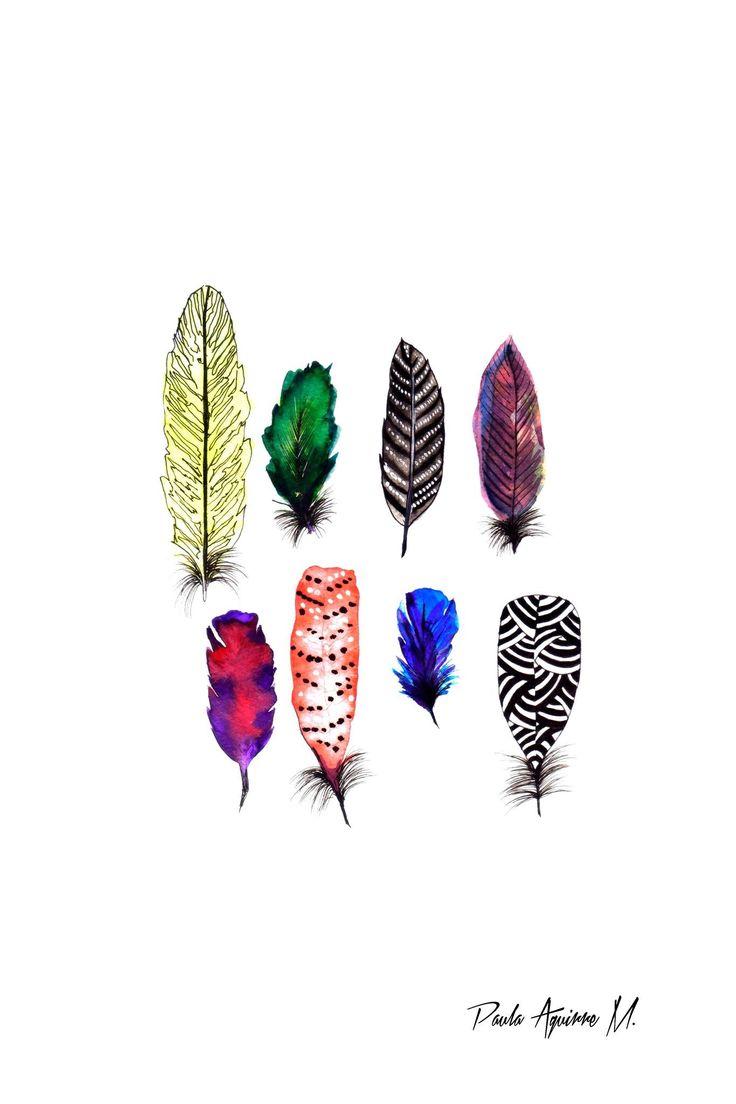"""""""Feathers II"""" ilustración en acuarela"""