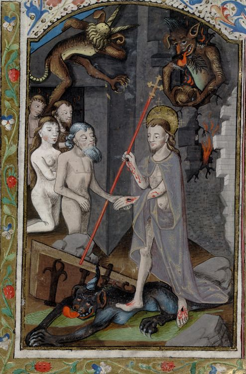 Harrowing of Hell. Book of Hours. France, 4th quarter of the 15th century, San Marino, Huntington Library, HM 01180, detail of f. 39v