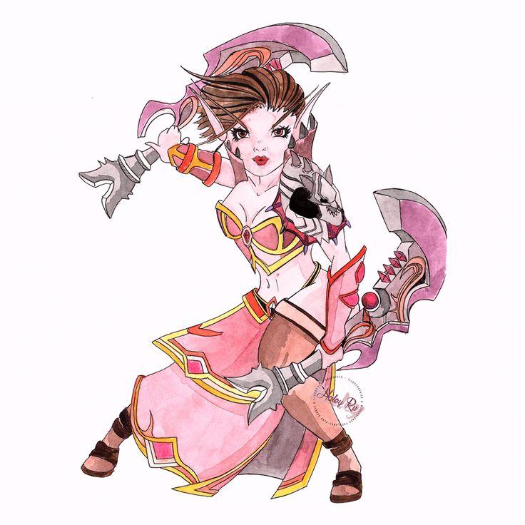 Commision Interprétation Personnelle d'un personnage de World Of Warcraft. Elfe de Sang Voleuse au Stuff plutôt développé !