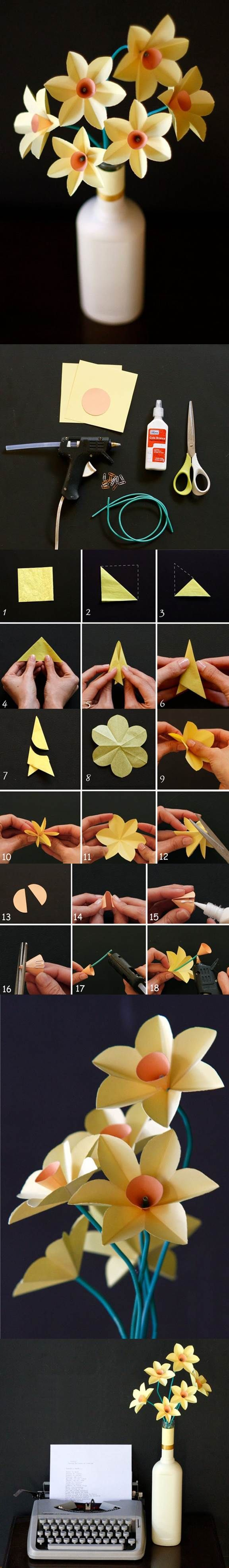 DIY Easy Paper Daffodils | iCreativeIdeas.com LIKE Us on Facebook ==> https://www.facebook.com/icreativeideas