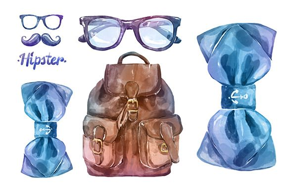 Watercolor hipster clothes (vector) by Krol on @creativemarket