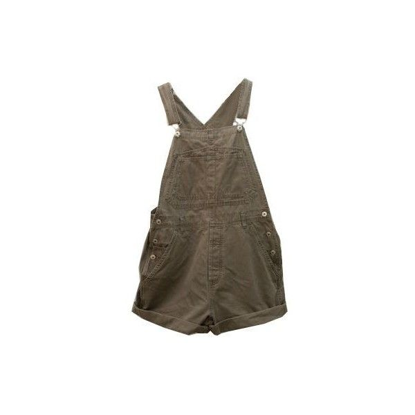 90s Olive Green Khaki denim short Overalls Dungarees jean romper... ❤ liked on Polyvore featuring jumpsuits, rompers, dresses, one piece, shorts, denim jumpsuits, olive romper, short denim overalls, army green jumpsuit and short overalls