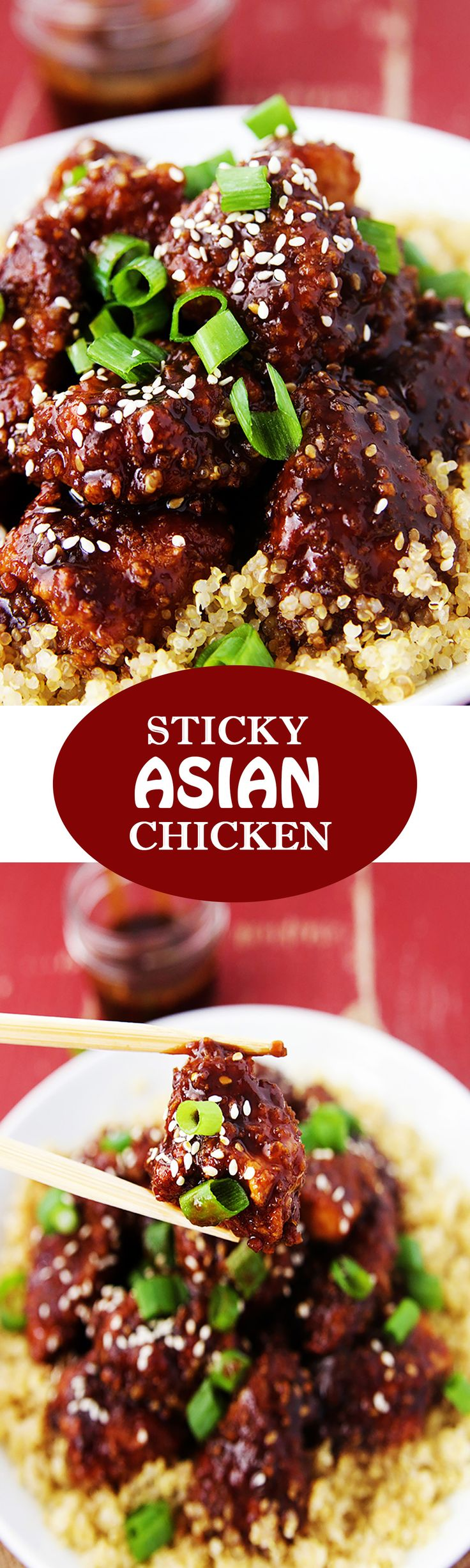 Sticky Asian Chicken - Has a little bit of heat, a little bit of sweet, and a whole lot of delicious.