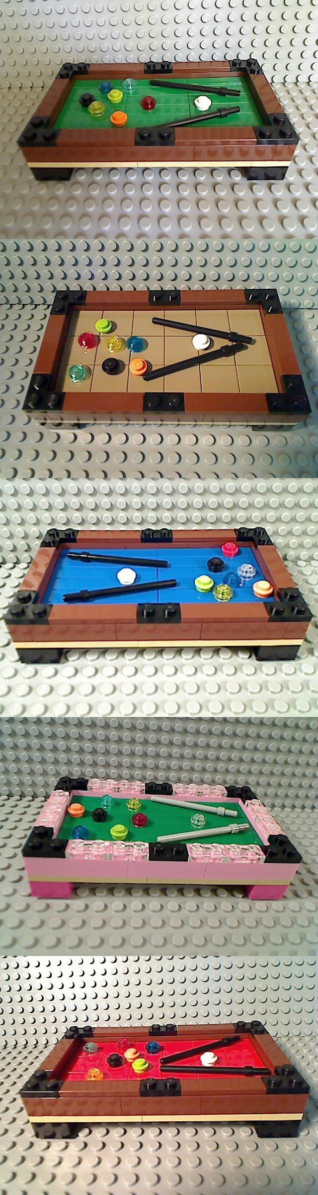 Which Lego pool table do you think looks best? Classic green, or beige, maybe blue, or maybe red, or what about pink??