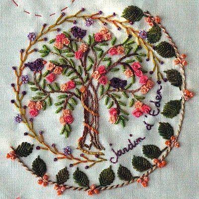 """Garden of Eden"" in Ribbon Embroidery."