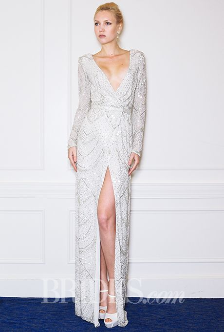 Brides: Alon Livné - Fall 2015. Long-sleeve metallic V-neck sheath with art deco beading and a high slit, Alon Livné
