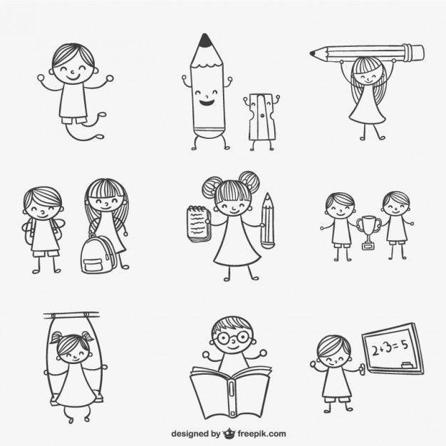 Miúdos da escola doodles Vetor grátis                                                                                                                                                                                 Mais