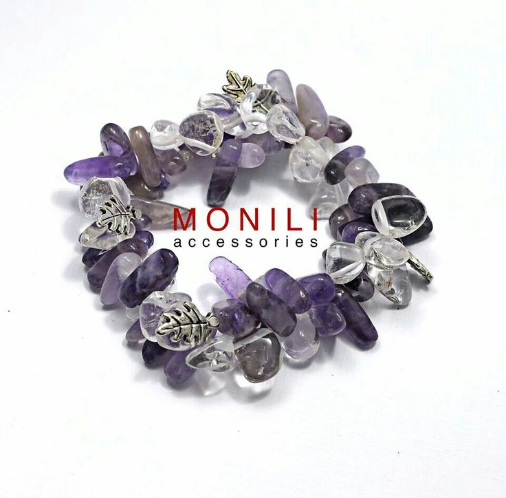 Cool bracelet by Monili. made of Amethyst and Rock Crystal chip stones