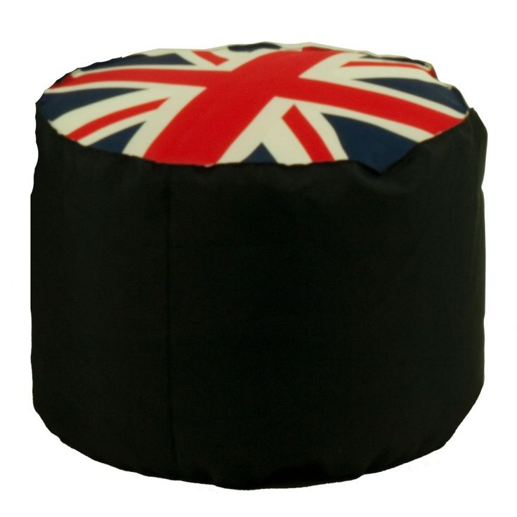 Ronde poef met de vlag van het Verenigd Koninkrijk. Gevuld met polystreen korrels. #Comfort #Relax #UK
