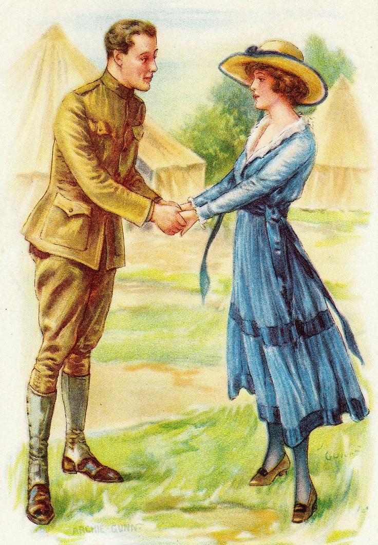 British Soldier Says Goodbye To His GirlWW1 Postcard