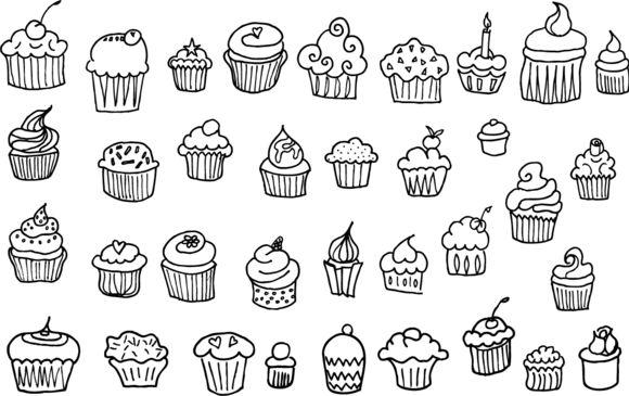 35 Hand Drawn Cupcake Vectors @creativework247