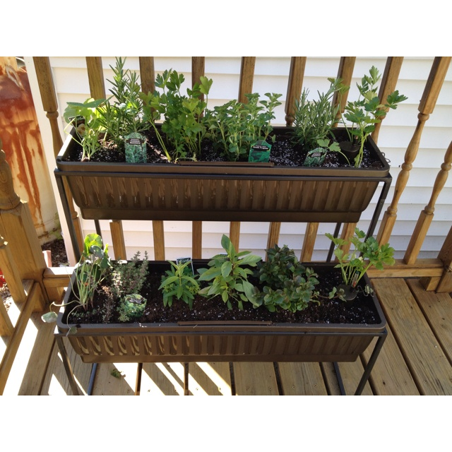32 Best Deck Rail Planters Images On Pinterest: Herb Planter On The Deck.