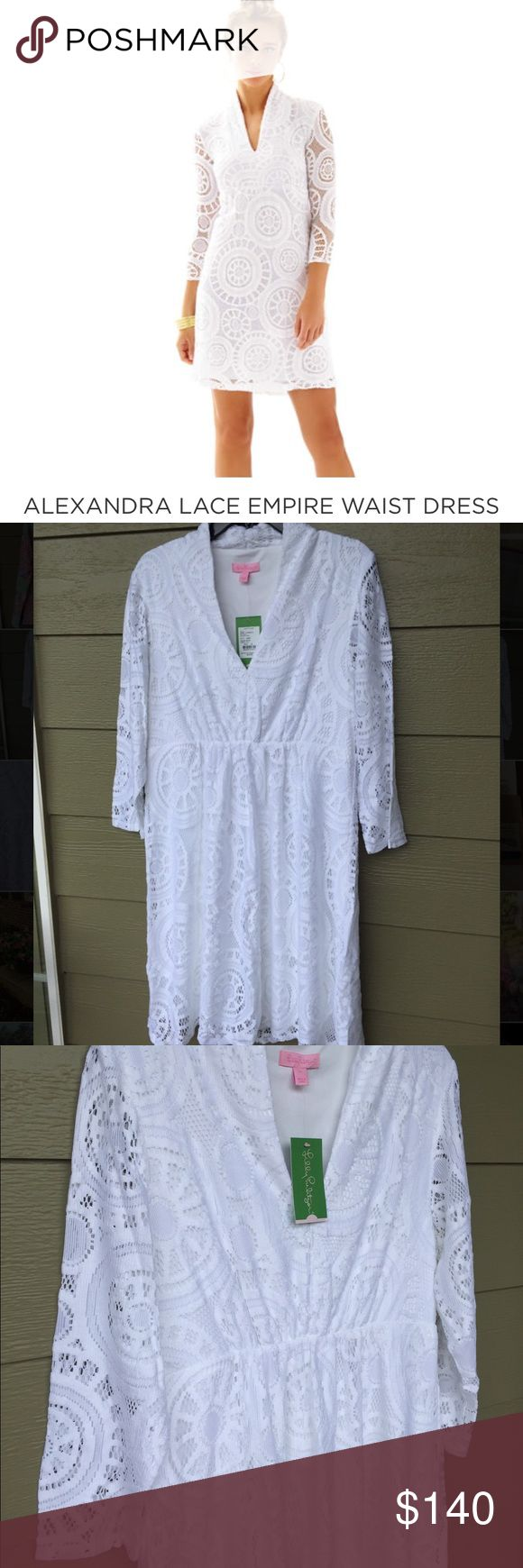 "Lilly Pulitzer Alexandra Empire waist dress XL NWT. Beautiful resort white lace dress. Women's size xlarge. Very flattering style. Lace Dress With 3/4 sheer lace Sleeves, Elasticized Empire Waist, And V-Neckline. 20"" From Natural Waist to Hem. Imported. Lilly Pulitzer Dresses"