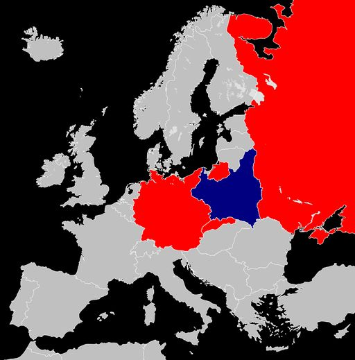 Invasion of Poland, September 1939 - in red the aggressor countries: Germany, Slovakia and the Soviet Union; in blue the attacked country: Poland.