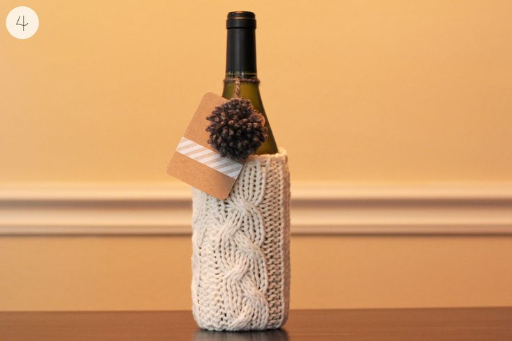 Winter Wine Gift Wrap Tutorial - made from a re-purposed sweater, a pom-pom, and a gift tag
