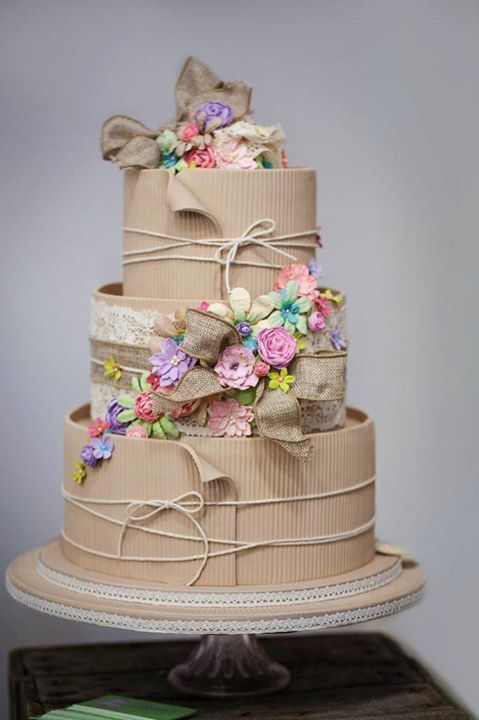 Corrugate Cardboard Cake. Decorate to match any occasion or season. Baby showers, weddings, birthdays, spring, fall, summer, winter, christmas, etc. It is sure to be the icing on your event. #imnotabox