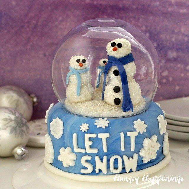 Hungry Happenings: Snow Globe Cake with Cake Pop Snowmen