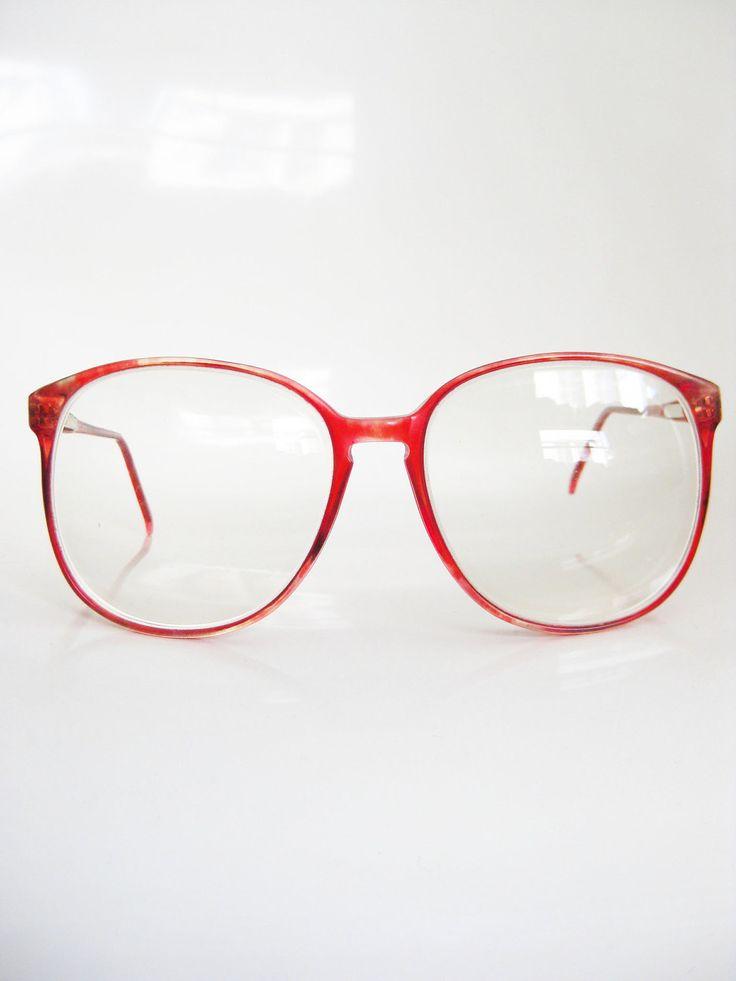 Vintage CHERRY RED Glasses Eyeglasses ROUND by OliverandAlexa
