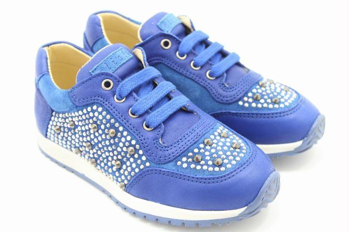 Clic! Sneakers blauw leer met studs