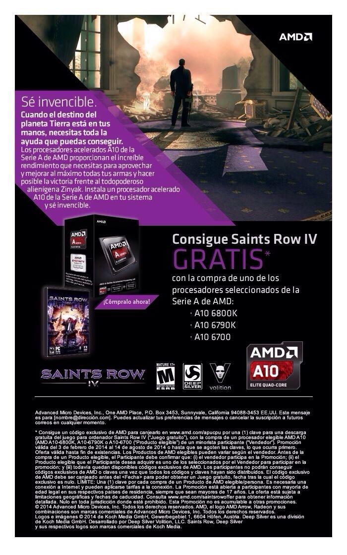 Por la compra de un procesador AMD, A10 6700, 6790K y 6800K regalamos un juego Saints Row IV !!! Unidades limitadas !!!