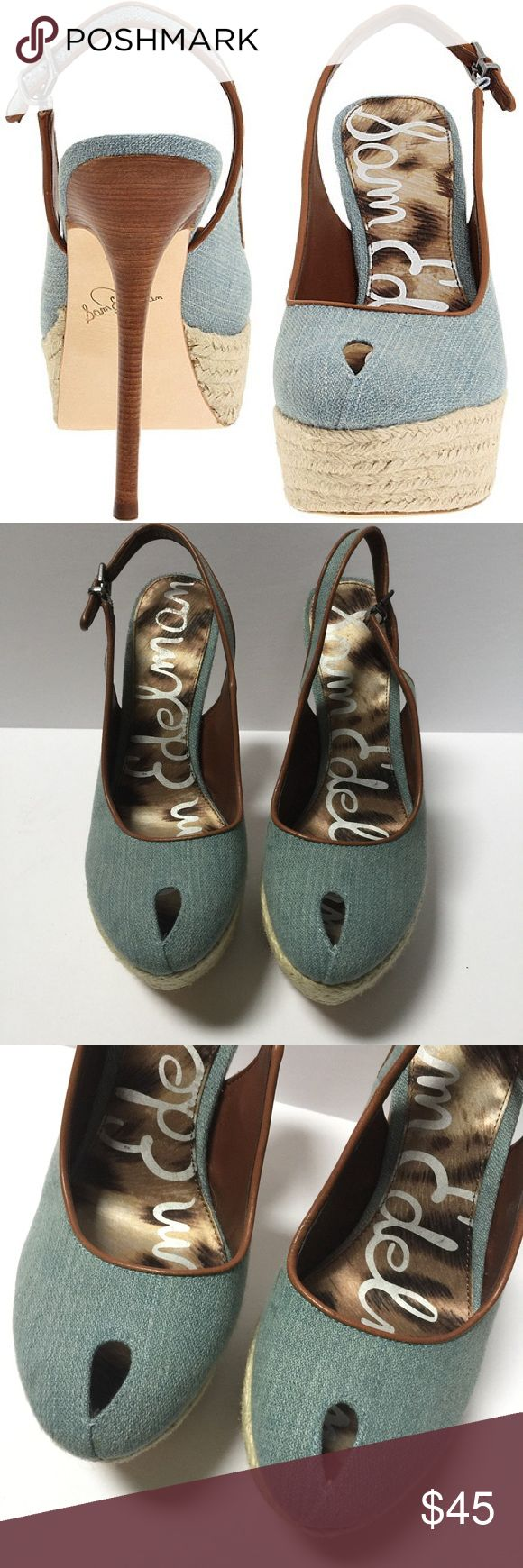 """SAM EDELMAN """"Novato"""" Blue Denim Peep Toe Platforms So fun, stylish and perfect for a night out on the town! This gorgeous platforms from Sam Edelman are done in an adorable blue denim finish with a stunning Raffia wrap around the platform. Gorgeous wood heel sets the entire look off perfectly! In excellent gently loved condition, like new! Size 7.5. 5"""" Heel, 1 1/4"""" platform- comparable to a 3 3/4"""" Heel! Sam Edelman Shoes Platforms"""