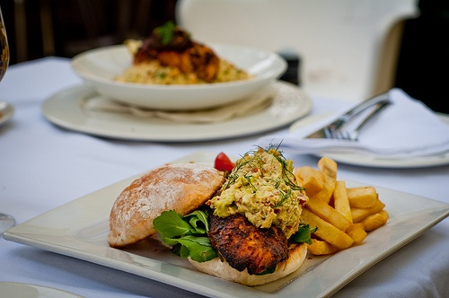 gingko Summer 12 menu - chicken burger & salmon on couscous