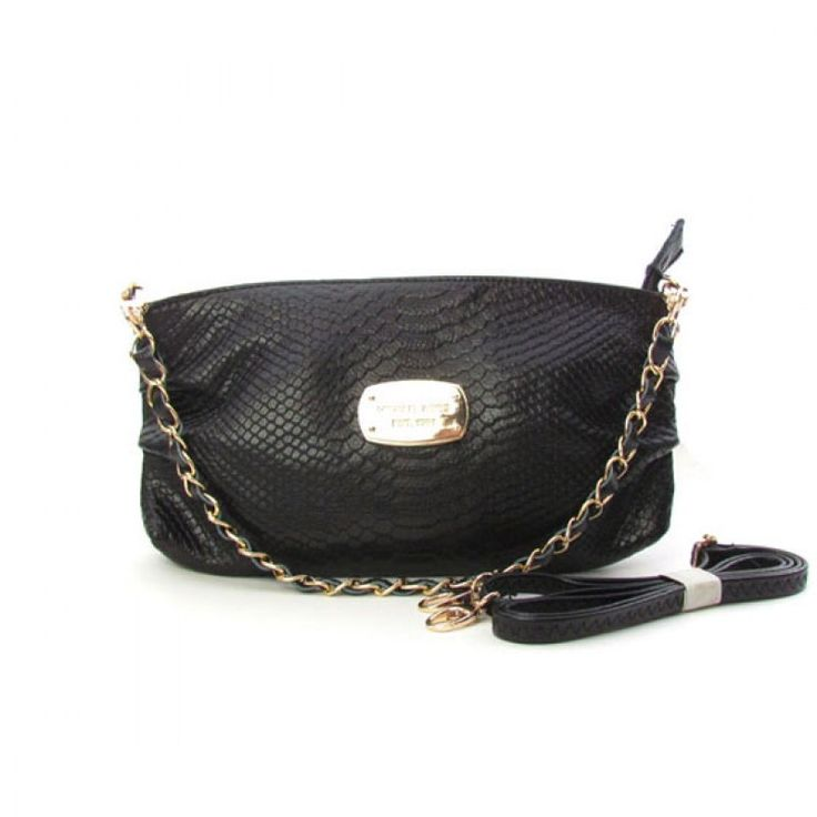 Michael Kors Large Python-Embossed Clutch Black
