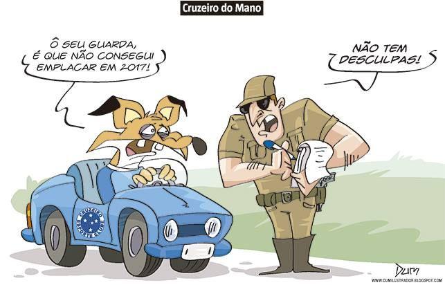 Charge do Dum (Zona do Agrião) sobre o Cruzeiro não conseguir manter uma boa sequência de resultados positivos nos campeonatos até o momento (06/06/2017) #Charge #Dum #Futebol #Brasileirão #CampeonatoBrasileiro #Cruzeiro #Mano #ManoMenezes #HojeEmDia