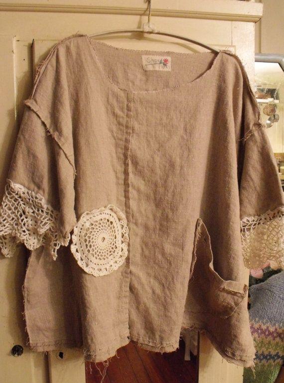 Oversized 100 Percent Pebbly Khaki/Grey Linen by SheerFab on Etsy, $60.00