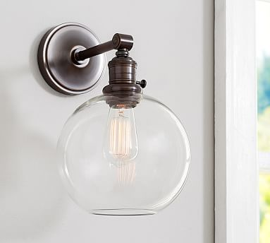 PB Classic Sconce - Glass Globe #potterybarn - in silver; downstairs bathroom