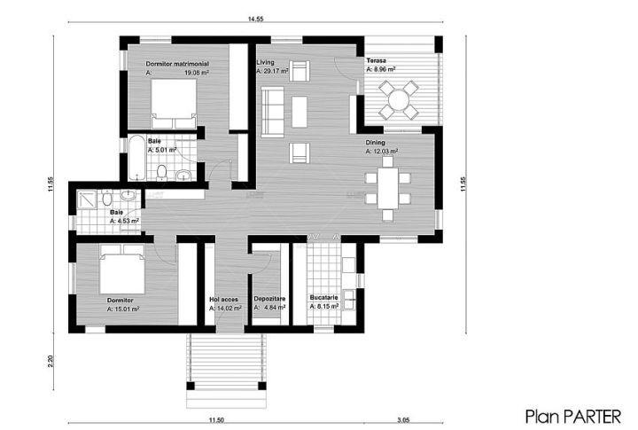 case cu doua dormitoare Two bedroom single story house plans 7