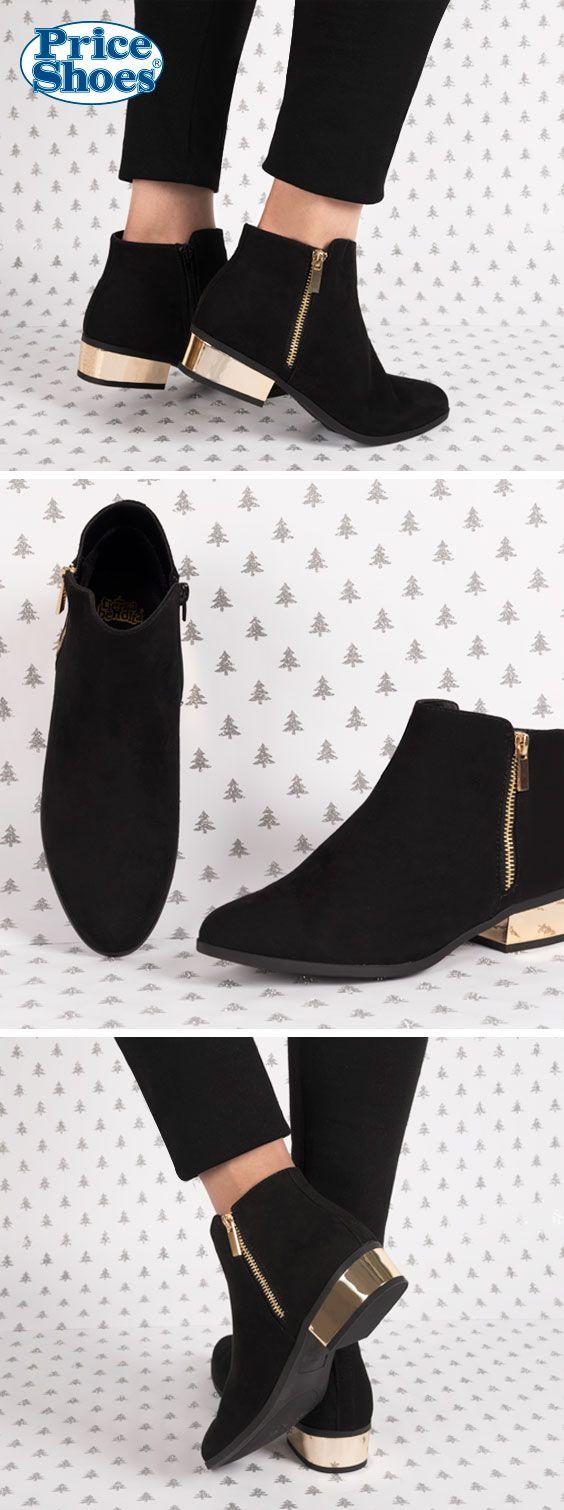 Descubre estos y muchos otros #botines en #PriceShoes #negro #taconbajo #tacón #metálico