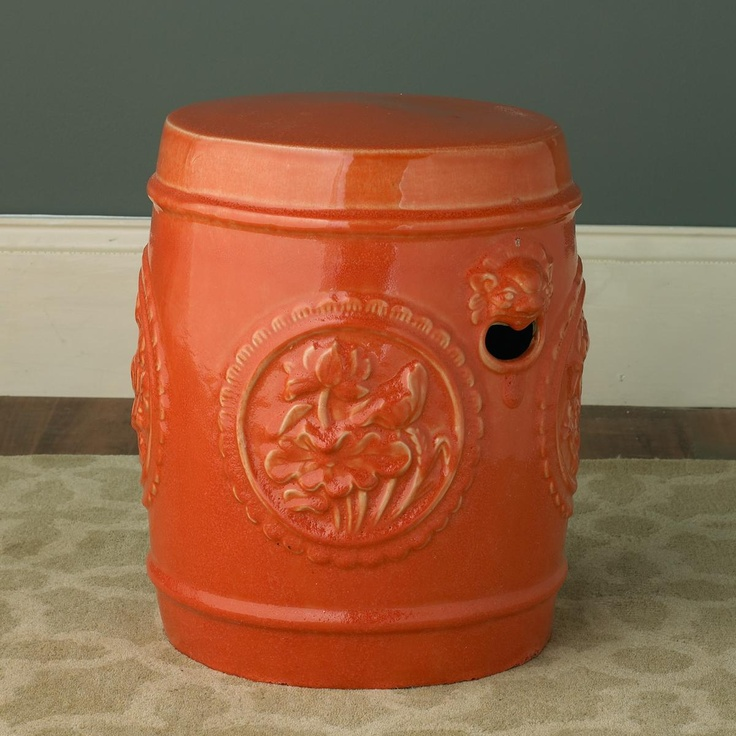 Orange Vintage Reproduction Zen Garden Stool