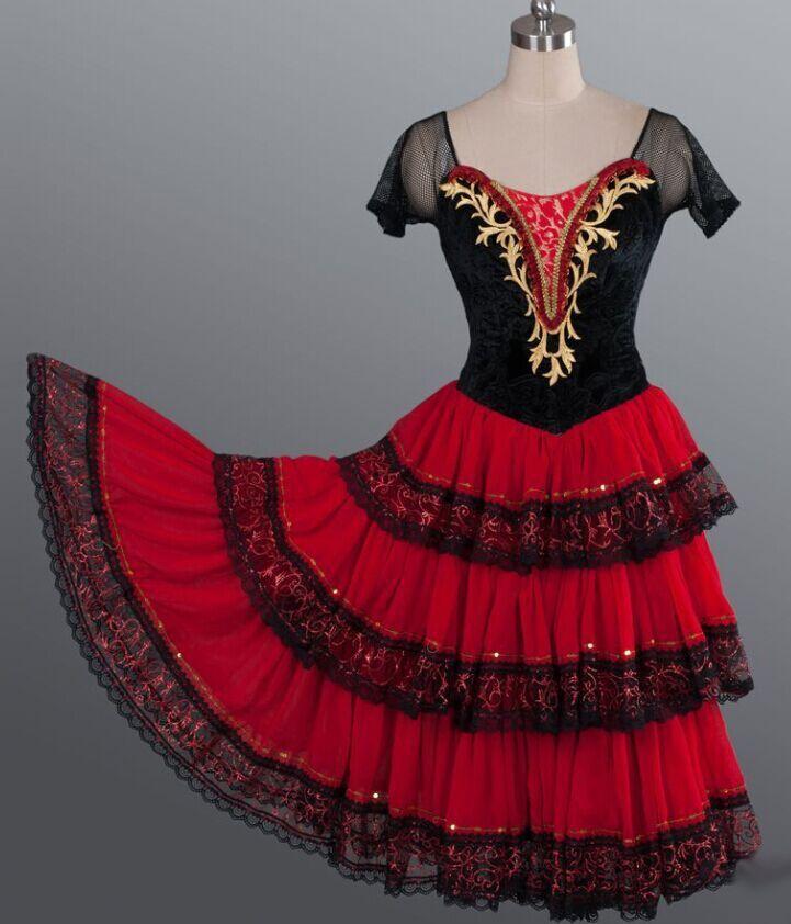 Professional Ballet Tutu Dress Black/Red Costume Kitri Don Quixote MTO Custom #Unbranded