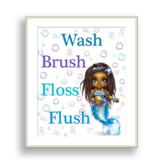 Mermaid Bathroom Decor African American Girl Mermaid Theme Brown Skin Girl  Bathroom Sign Wash Brush Floss Flush Baby Mermaid Print Kids Bath