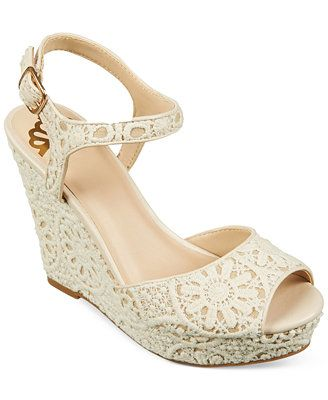 Might be cute for bridesmaids Fergalicious Ritzy Crochet Two-Piece Platform Wedge Sandals