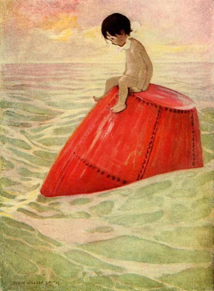"""And Tom sat upon the buoy long days. From """"The Water-Babies"""" illustrated by Jessie Willcox Smith, 1916"""