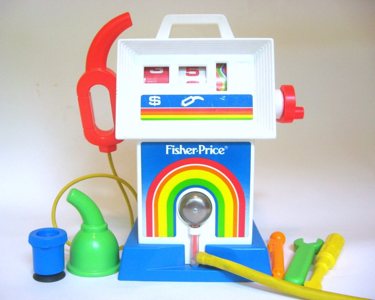 """Vintage Fisher Price Gas Pump """"Gas  Go Service Center"""" Mint Working Condition, Complete Set with Rainbow, Gas Can and More 1980s. $28.00, via Etsy."""
