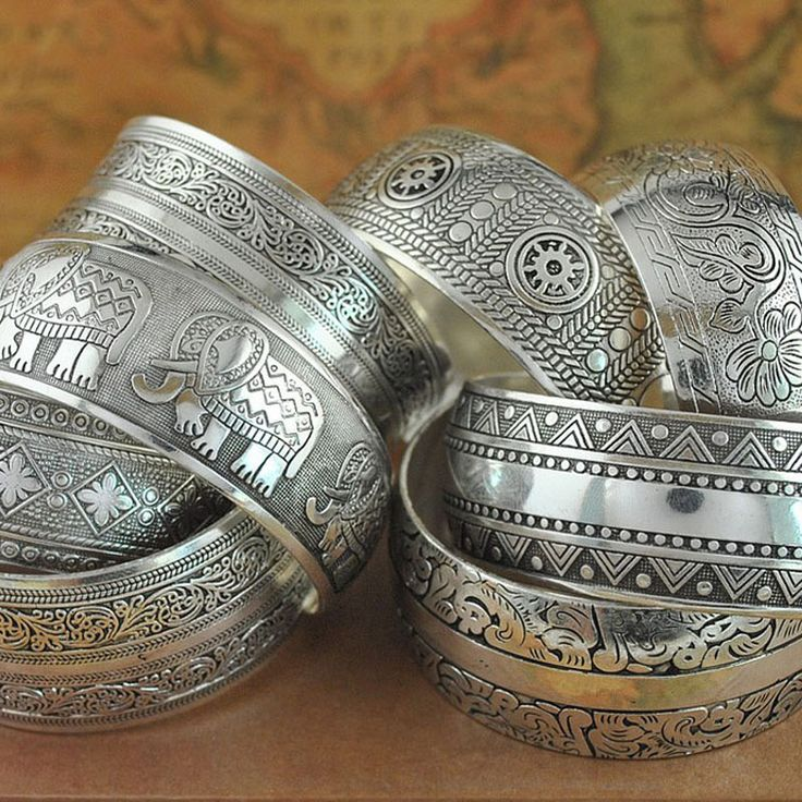 Bangles  Gypsy Ethnic Square Flower Metal Carved Wide Bangles Tibetan Silver Vintage Retro Tribal Fashion Bracelet Bangle Cuff For Women -- See this great product.