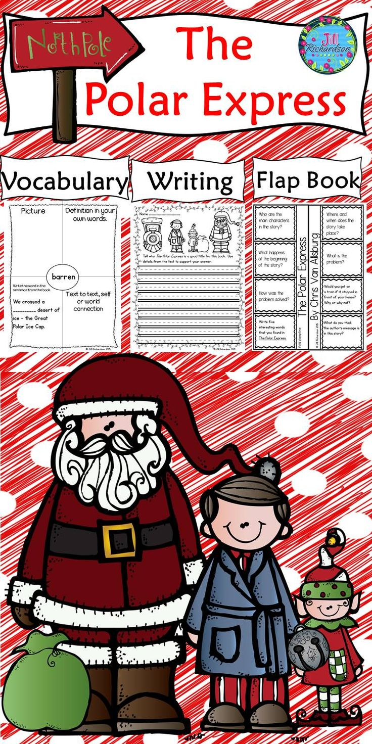 The Polar Express by Chris Van Allsburg is a delightful story and this activity includes a comprehension interactive flap printable, vocabulary graphic organizers and common core aligned writing activities with rubrics.   It includes: 8 vocabulary graphic organizers for The Polar Express A fun comprehension interactive printable to show understanding of the Polar Express! Polar Express Vocabulary flash cards 2 writing prompts aligned with Common Core! 2 writing rubrics