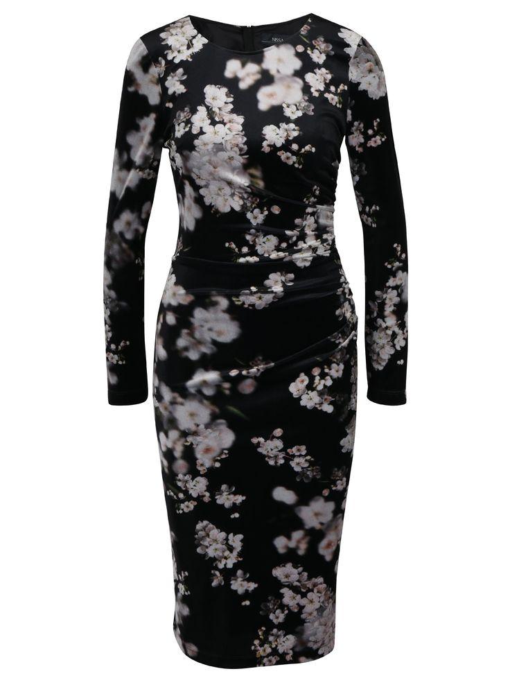 Černé květované sametové šaty NISSA