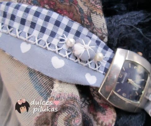 dulces pilukas: Correa reloj en tela diseño patchwork