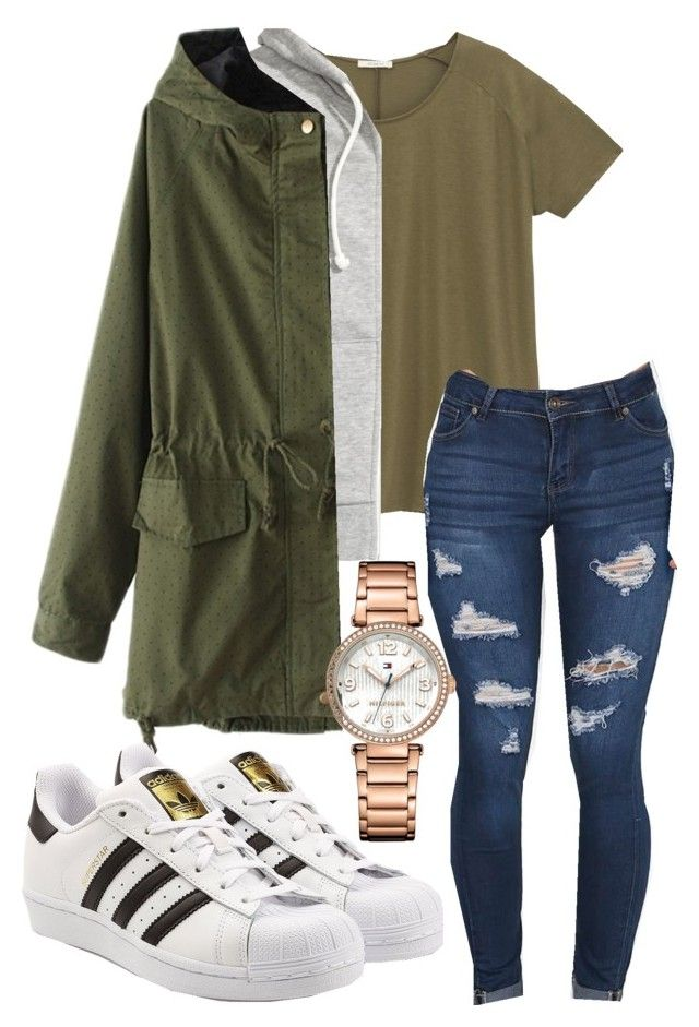 """Untitled #109"" by rabiamiah on Polyvore featuring Lee, H&M, adidas Originals and Tommy Hilfiger"