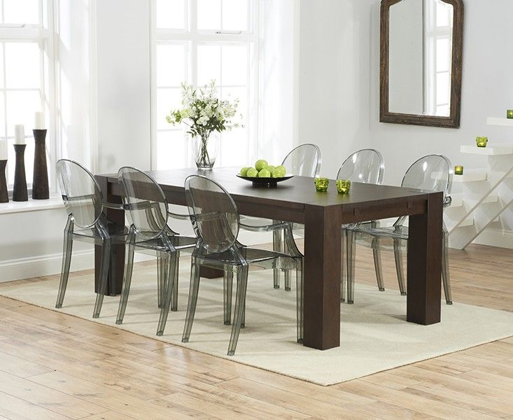Madrid 200cm Dark Solid Oak Dining Table with Phillipe Starck Style Ghost  Chairs.