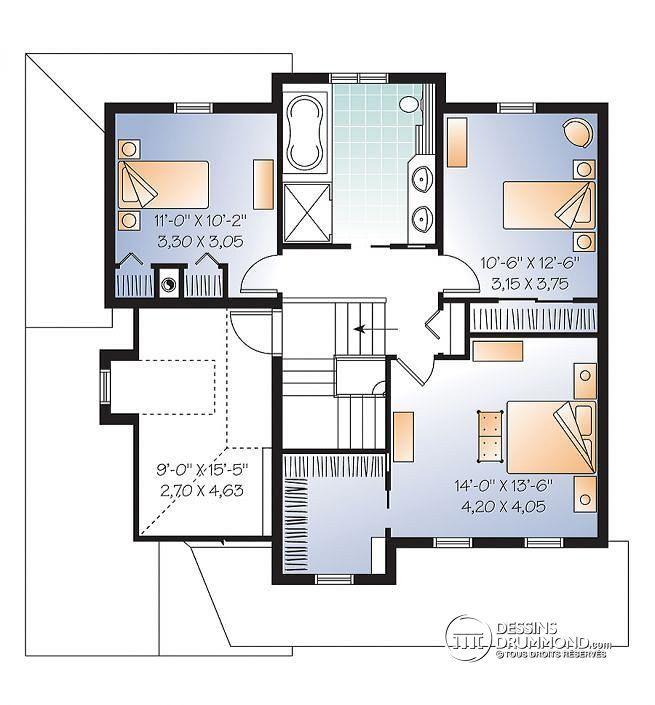 Plan de Étage 2 étages, plan de maison champêtre avec pierres, cuisine / séjour à aire ouverte, 3 grandes chambres, garage - Dempsey 3