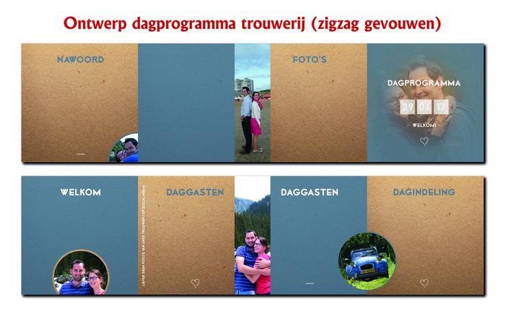 Ontwerp dagprogramma eigen trouwerij in de vorm van een zigzag folder! #design #color