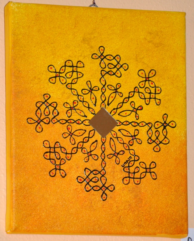 Kolam painting w/ mirror. © 2011 Bala Thiagarajan, Acrylic on Canvas, 10x8""