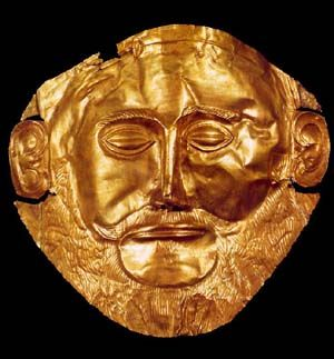 Gold funeral mask from Grave Circle A, Mycenae (mid-16th century BCE). The mask in fact predates Agamemnon by 400 years but nevertheless remains solid evidence of Homer's description of Mycenae as 'rich in gold'. (National Archaeological Museum, Athens). I saw it in the 80s